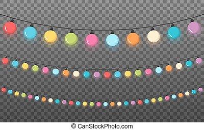 Christmas Lights - Colorful round Christmas lights, dark...