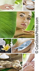 wellbeing - Spa theme photo collage composed of different...