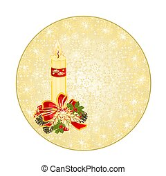 Button circle Christmas snowflakes candlestick and pine...