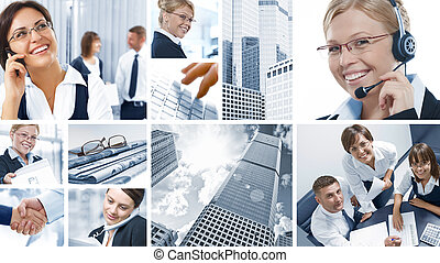 corporate mix - Business theme photo collage composed of...