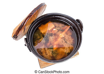 Delicious vegetable soup with tofu.