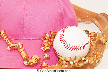 Her Way to Stay Fit - Pink baseball cap, baseball, and gold...