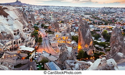 Zoom in Timelapse view of Goreme village in Cappadocia at...