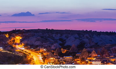 Pan shot timelapse view of Goreme village with beautiful sky...
