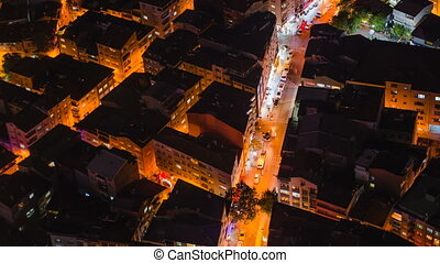 Timelapse rooftop view of Istanbul street with traffic at...