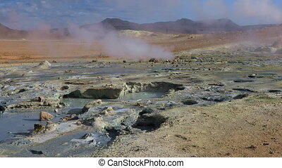 Fumarole volcanic boiling mud pots surrounded by sulfur hot...