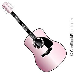 Pink Acoustic Guitar - A typical acoustic guitar in pink...