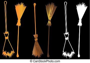 Halloween witches broomstick, Witches broom illustration...