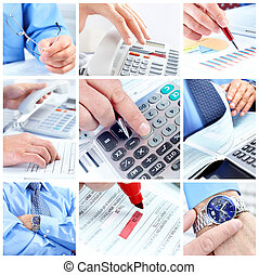 Businessman working with documents and calculator