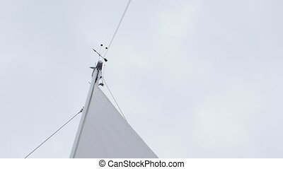 White sails on mast of yachts and boats of regatta....