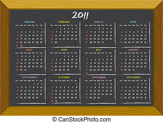 2011 calendar chalkboard style - 2011 calendar with English...