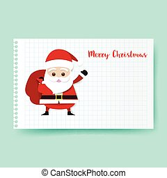 Smile Santa claus cartoon holding big red bag on white rule paper background with copy space vector illustration