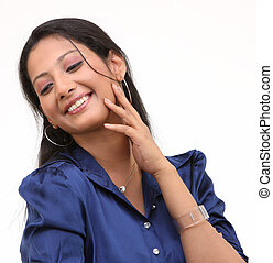 smiling girl in blue collar shirt - Portrait of a smiling...