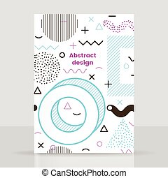 Memphis brochure design, vector abstract pattern, blue and...
