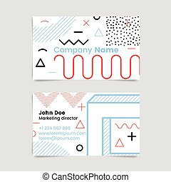 Memphis business  card, abstract vector design eps 10