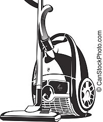 vacuum cleaner - Black and white illustration of vacuum...