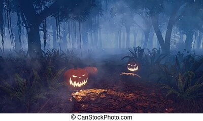 Halloween pumpkins in magical night forest 4K -...