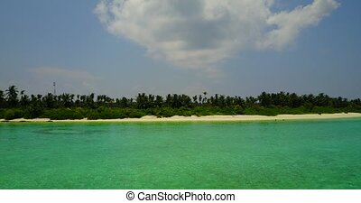 v05861 Aerial flying drone view of Maldives white sandy...