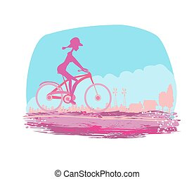 Cycling Grunge Poster with silhouette Girl