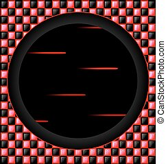 red-black cubes and dark hole - abstract colored background...