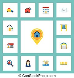 Flat Icons Magnifier, Woman Realtor, Hypothec And Other...