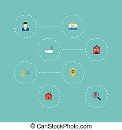 Flat Icons Hypothec, Pin, Magnifier And Other Vector...