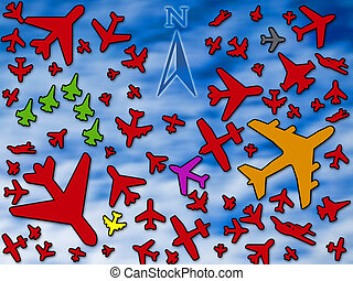 Crowded sky - Many airplanes in a crowded sky