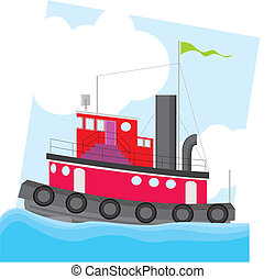 Colorful tug boat vector illustration
