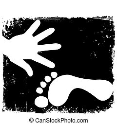 Handprint And Footprint Vector - White handprint and...