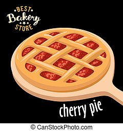 Cherry pie mesh on the board vector. Baked bread product. -...