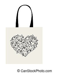 Floral heart shape, design of shopping bag