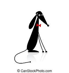 divertido, negro, perro, silueta, su, diseño