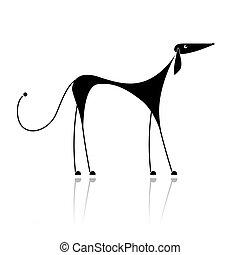 ENGRAÇADO, pretas, cão, silueta, seu, desenho