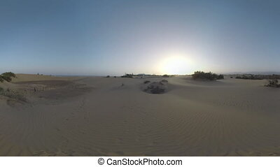 Sand dunes of Gran Canaria at sunset - Sandy landscape with...