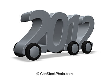 2012 on wheels - the year 2012 on wheels on white background...