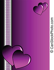 A purple and silver valentines card