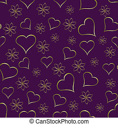 A gold hearts seamless valentines day background which can...