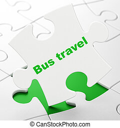Vacation concept: Bus Travel on puzzle background - Vacation...