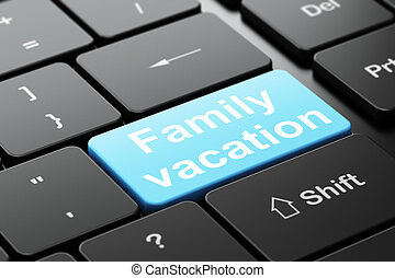 Travel concept: Family Vacation on computer keyboard...