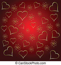 A gold hearts valentines day background which can be tiled