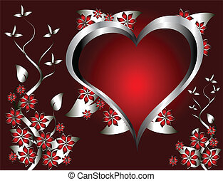 A red hearts Valentines Day Background with silver hearts and flowers on a red graduatedl background