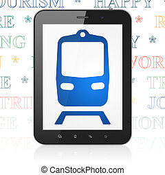 Vacation concept: Tablet Computer with Train on display -...