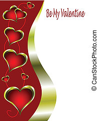 A red and gold Valentines Day Card Template with gold rimmed...