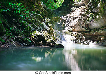 Pure mountain lake among southern jungle - Pure mountain...