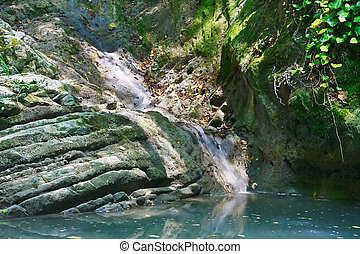 Small streamlet flowing into lake with stagnant water among...