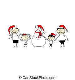 Happy family and snowman, christmas holiday
