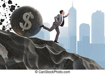 Businessman in economic crisis business concept