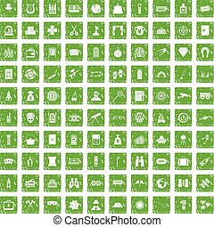 100 adult games icons set grunge green - 100 adult games...
