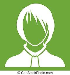 Woman icon green - Woman icon white isolated on green...