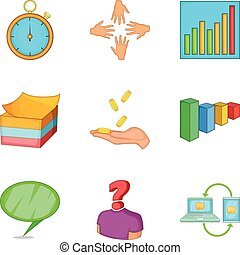 Handout icons set, cartoon style - Handout icons set....